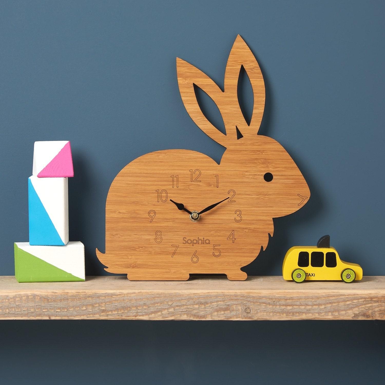 Rabbit Clock Modern Wall Clock Childrens Clock Laser Cut By