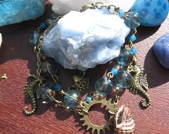 Mermaids Treasure, Steampunk charm bracelet