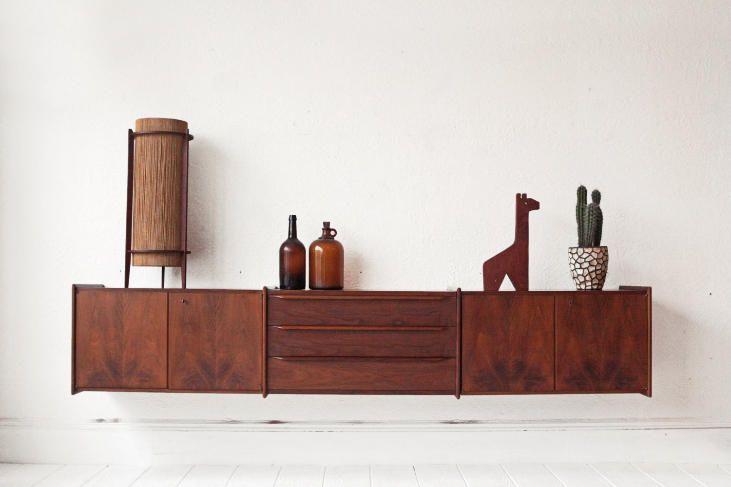 Mid Century Floating Credenza Walnut Scandinavian