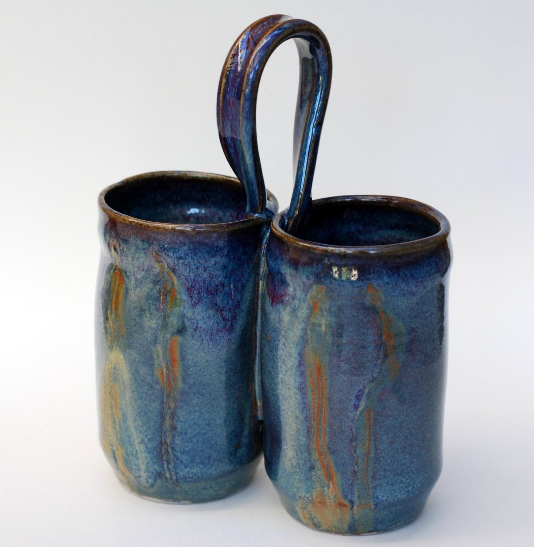 Kitchen utensil holder handmade pottery holder by elenamadureri - Unique kitchen utensil holder ...