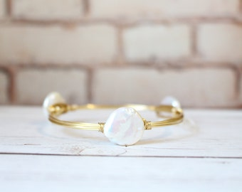 The Grand Cayman Pearl - Extra Large Pearl Coin - Wire Wrapped Gold Bangle