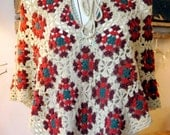 Vintage 70s Crochet Poncho in Beige, Red Maroon and Teal