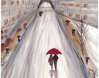 Paris love couple, ORIGINAL watercolour painting, red umbrella, romance, eiffel tower, France, 8.5 x 11.5 inch
