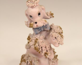 Vintage Lavender Lilac Pink Spaghetti Poodle Ceramic Figurine with Gold Accents Mid-Century Modern Kitsch Made In Korea