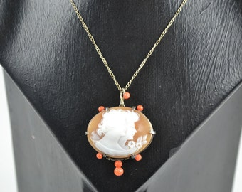 Edwardian/1920s Necklace Silver Cameo Pendant with Coral Detail