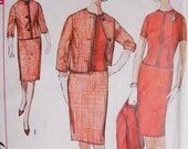 60s Simplicity 4622 Vintage Sewing Pattern Slim Skirt Suit and Over Blouse Classic Tippi Hedren Bust 38