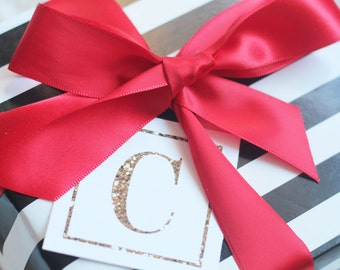 MONOGRAM Glitter Christmas/Holiday Gift Tags/Place Cards by Marbella Printables