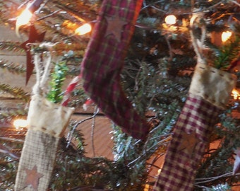 Primitive Grubby Homespun Christmas Stocking Ornaments