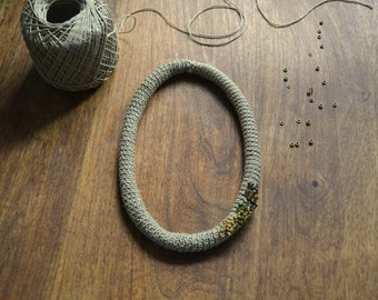 Crochet necklace simple elegant necklace cotton jewelry in golden khaki neo tribal