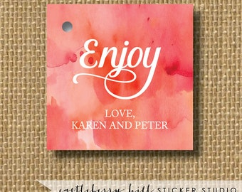 Watercolor tag, Watercolor favor tag, watercolor label, enjoy tag, simple favor tag, favor labels, ideas for favors watercolor wedding ideas