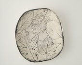Black and White Pressed Leaves Ceramic Catch All Dish (no 533)