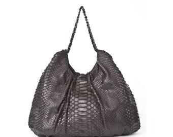 Black Python Shoulder Bag - FAREESA