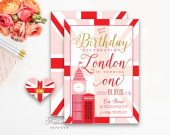 Printable invitations - London invitation - big ben - calligraphy - england invitiation  - freshmint paperie