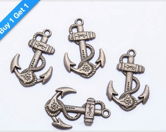 BUY 1 GET 1 FREE - Antique Bronze 3D Anchor Charm, Brass Anchor Pendant, 29x19mm, Pkg of 6pcs, C00P.AN09.P06