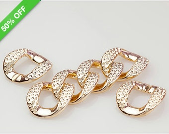 50% OFF - Rose Gold Faux Pave Links, Acrylic Links, Plastic Links, 33x40mm, Pkg of 50 PCS, L0EF.RG04.P50