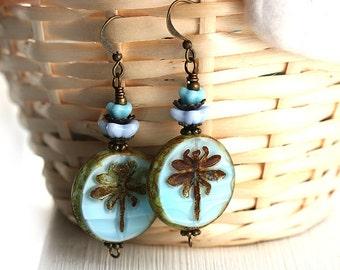 Blue Dragonfly earrings, Beaded Glass Earrings, Dragonfly Jewelry, Blue Flower Earrings, Woodland Earrings, Beadwork Earrings