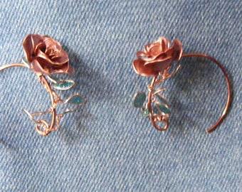 Hoop rose earrings. Beautiful hand made roses curled round an earring hoop.