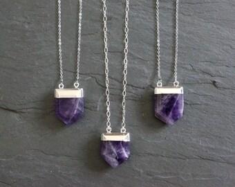 Amethyst Necklace ⊿ Raw Amethyst ⊿ Amethyst Necklace ⊿ February Birthstone ⊿ Amethyst Pendant ⊿ Silver Amethyst