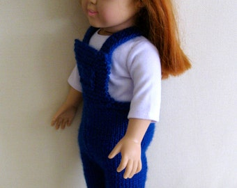 "AG Doll Blue Overalls and Straw Hat 18"" Doll Clothes Jeans Pants"