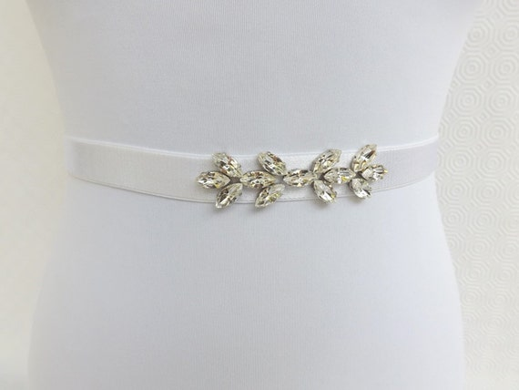 White elastic waist belt decorated with Swarovski crystals leaves. Bridal Sparkly belt.