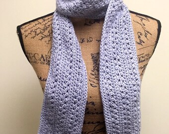 Long Silver Crochet Scarf