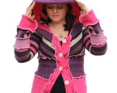 Christmas sale! 15% off! Upcycled Festival Sweater/ Katwise Inspired/ elf sweater/ medium/ pink/purple. Was 108.