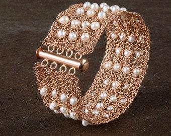 Pearl Rose Gold Filled Cuff Bracelet , Fresh Water Pearls, Wedding Jewelry, Wire Crochet Bracelet, June Birthstone, Bridal Crochet Bracelet
