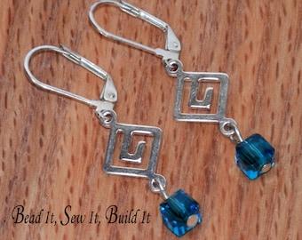 Q2 Geometric, Greek Key teal crystal earrings