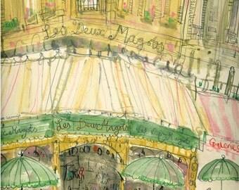 PARIS CAFE WATERCOLOR Les Deux Magots, Signed Paris Art Print, Watercolor Painting, French Cafe Wall Decor, Paris Cafe Drawing