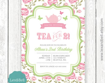 Printable: Tea For Two  Birthday Invitation (Can be changed to any age 1, 2, 3...) Shabby Chic Tea Party / Kids Tea Party /  Birthday