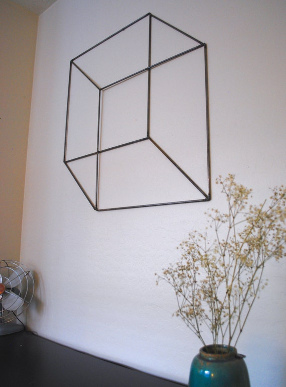 Geometric Metal Wall Decor : Items similar to geometric retro modern metal sculpture