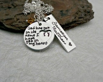 Personalized Necklace Memorial Necklace - God Has You in His Arms - Remembrance Necklace - Infant loss jewelry - Mother Necklace - Angel Mom