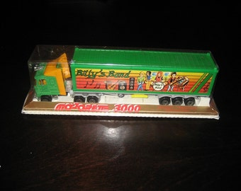 Vintage 1980s MAJORETTE 3000 - Semi Diecast Truck & Trailer - BILLY's BAND -  #69140 - Made in France - Metal Mack - Mint in Package