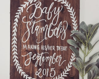 Rustic Wooden Pregnancy Announcement Sign, New Baby Sign, Maternity Photo Prop, Mother to be