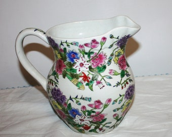 Gorgeous large vintage floral water pitcher