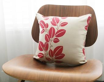 "16""x16"" Beige / Fucshia Leaves Throw Pillow Cover"