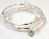 Silver Beaded Coil Bracelet, Memory Wire Bracelet Wrap, Wire Bangle, Bracelet,Handmade, Custom, Beaded Jewerly