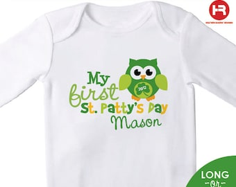 baby's first st patrick's day bodysuit or shirt - personalized OWL new baby gift - Personalized st. patrick's day Outfit