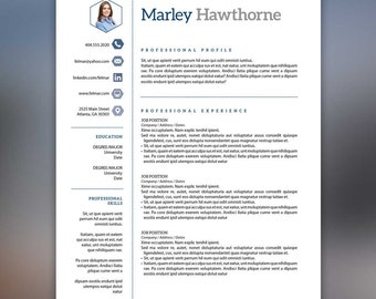 Modern Resume Template - Instant Download - Blue Gray, Social Media Icons - Microsoft Office & InDesign - HAWTHORNE