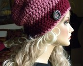 Slouchy Beanie, Beanie, Crocheted hat, cranberry and pink, Slouchy hat, Gifts for teens, Accessories