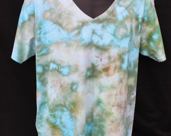 Tie Dyed Vneck Shirt, Men's Large Ice Dyed Shirt - Ready to ship