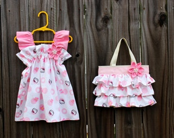 NEW Ruffled White and Soft Pink Hello Kitty Birthday Party Dress with matching Ruffled Canvas Tote Bag
