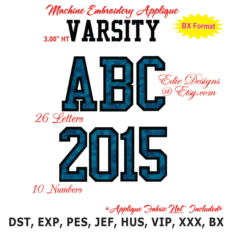 Varsity letters applique machine embroidery designs monogram