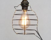 Bird cage pendant light, modern hanging light with 12 feet of cloth cord, high quality brass candelabra socket and a miniature Edison bulb