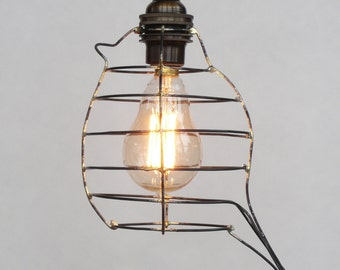 Bird cage pendant light, bird cage light, rustic lighting, urban lighting, modern hanging light with 12 feet cloth cord, brass socket