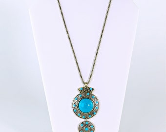Bronze and Teal Pendant Necklace