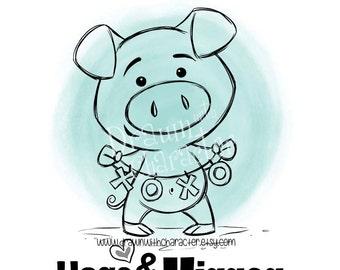 Hogs and Kisses Piggy  Digital Stamp Art/ KopyKake Image