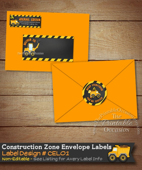 Construction Envelope Labels Construction By