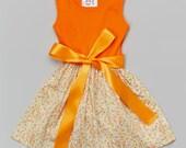 Dreaming Kids Orange Floral Belted Skater Dress - Infant, Toddler & Girls