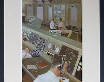 1960s Vintage Print of a Rocket Launch Control Room Retro computer art, NASA space decor - Space Gift - Science Picture - Scientific Decor